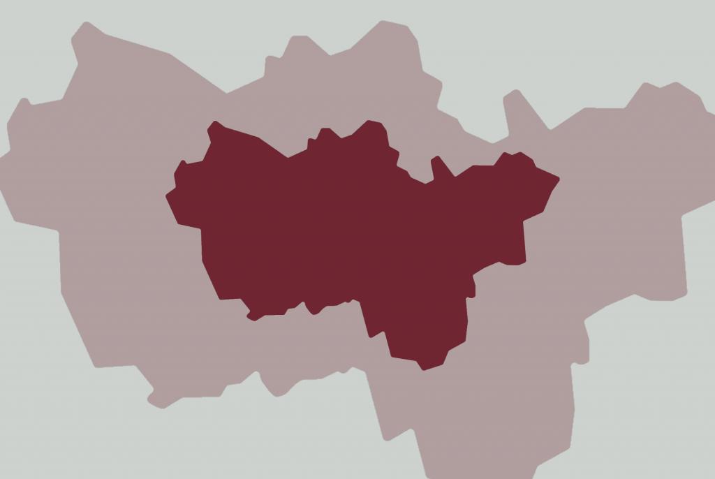 Farbige Umrisse des Ruhrgebiets